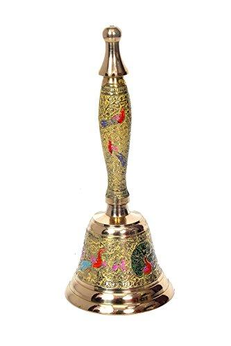 Stielhandglocke von Hashcart, farbenfrohe Hindu-Handglocke aus Messing für die Puja oder Ghanti-Gebet, für indische Hindu-Feste und Weihnachten gelb