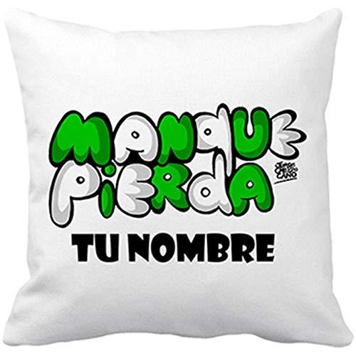 Diver Bebé Cojín con Relleno del Betis manque pierda Personalizable con Nombre - Blanco, 35 x 35 cm