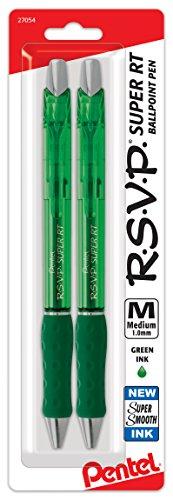 Pentel RSVP Super RT Ballpoint Pen, (1.0mm) Medium Line, green Ink, 2-Pk - BX480BP2D