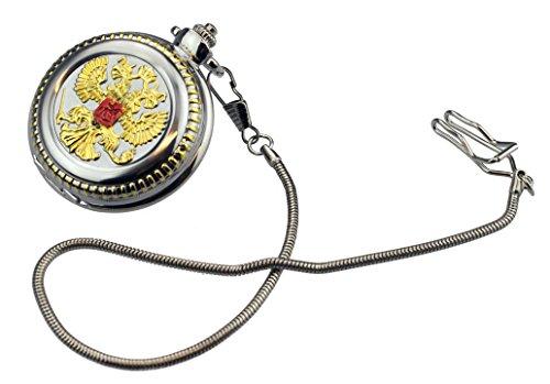 Taschenuhr TU 23 mit russischem Wappen rund mit Langer Kette in Altgoldoptik, Modeschmuck, Lieferung