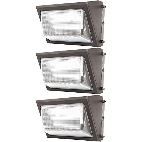 Sunco Lighting 3 Pack 80W LED Wall Pack, Daylight 5000K, 7600 LM, HID Replacement, IP65, 120-277V, Bright Consistent Commercial Outdoor Security Lighting - ETL, DLC