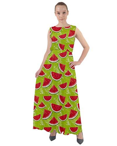 CowCow Womens Red Watercolor Pattern Watermelon Chiffon Mesh Maxi Dress - 2XL
