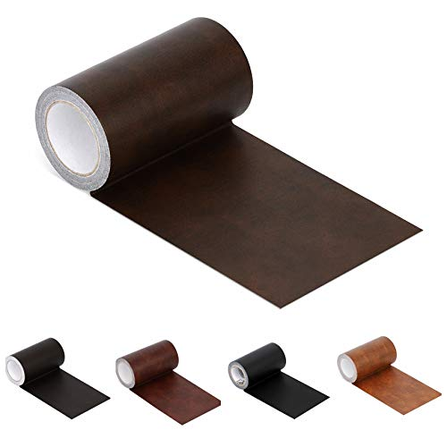 Leather Repair Tape Patch Leather Adhesive for Sofas, Car Seats, Handbags, Jackets,First Aid Patch 2.4'X15' (Brown Leather)