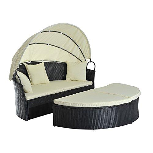 Outsunny® Sonneninsel Lounge Sonnenliege Gartenliege Garnitur Gartenset mit Dach, Polyrattan, 171x180x155cm - 4