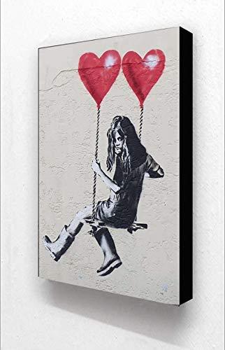 SXXRZA Wandbilder 50x70cm kein Rahmen Banksy Mädchen Herzen Liebe Schaukel Vertikale Leinwand Poster Drucke Gemälde Wandkunst Bild Living Home Decor