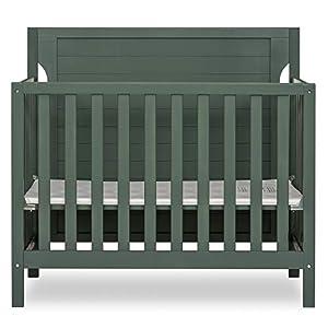 Dream On Me Bellport 4 in 1 Convertible Mini/Portable Crib I Mini Baby Crib I Includes 1.5 Mattress, Safari Green