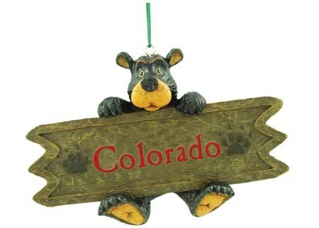 Colorado Sign Bear Collectible Ornament, 4.5-inch, Hanging Tree Decoration