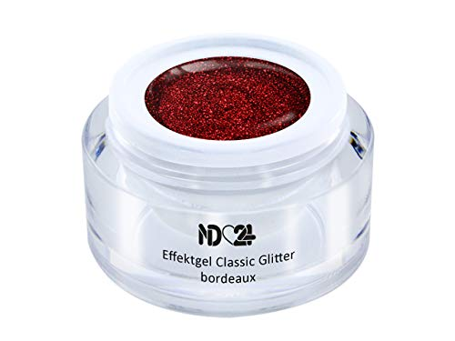 5ml - UV LED Effekt-Gel CLASSIC GLITTER bordeaux - ROT - Effekt Gel Naildesign FarbgGel NagelGel für Nageldesign Modellage - Nail Art Gel - Studio Qualität - MADE IN GERMANY