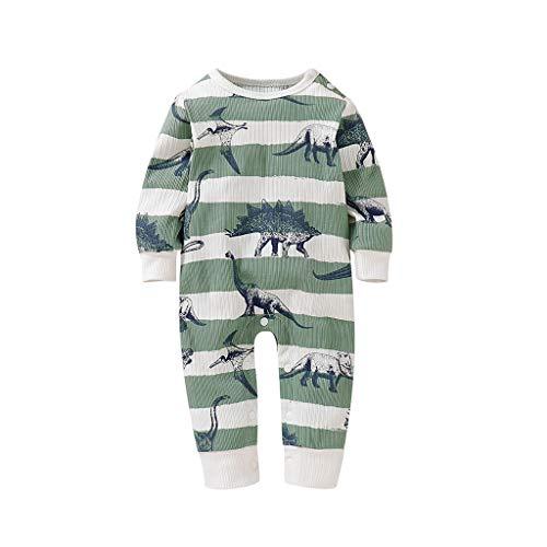 Xmiral Baby Mädchen Jungen Langarm Karikatur Geometrische Overall Infant Unisex Strampler Baumwollmischung Onesies Einteilige Pyjamas(Grün,12-18 Monate)