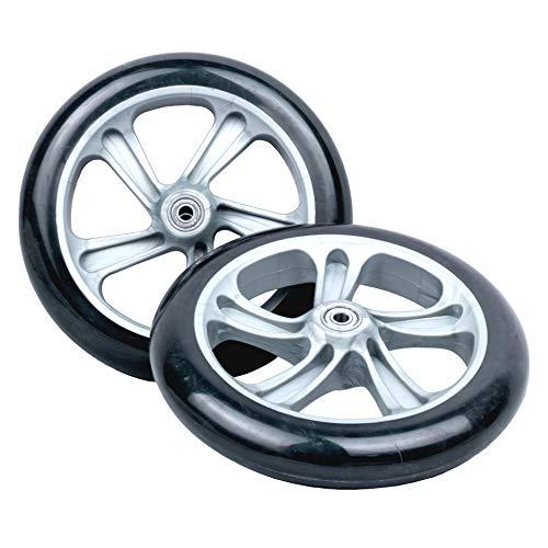 Hepros 200mm PU Ersatzräder High Rebound Silber Schwarz 2 Stück für Cityroller Radlager ABEC7