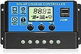 10A Controlador de Carga Solar 12V/24V Panel Solar Inteligente Regulador de Carga Solar con Pantalla LCD y Doble Puerto USB,Controlador de Carga Solar MPPT Carga de Regulación PWM