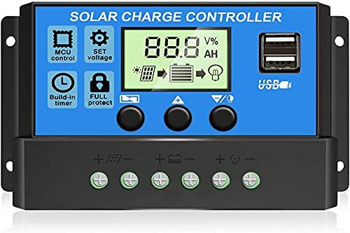 30A Controlador de Carga Solar 12V/24V Panel Solar Inteligente Regulador de Carga Solar con Pantalla LCD y Doble Puerto USB,Controlador de Carga Solar MPPT Carga de Regulación PWM
