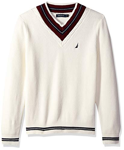 Nautica Men's Long Sleeve Cable Tipped V-Neck Sweater, Marshmallow, Large