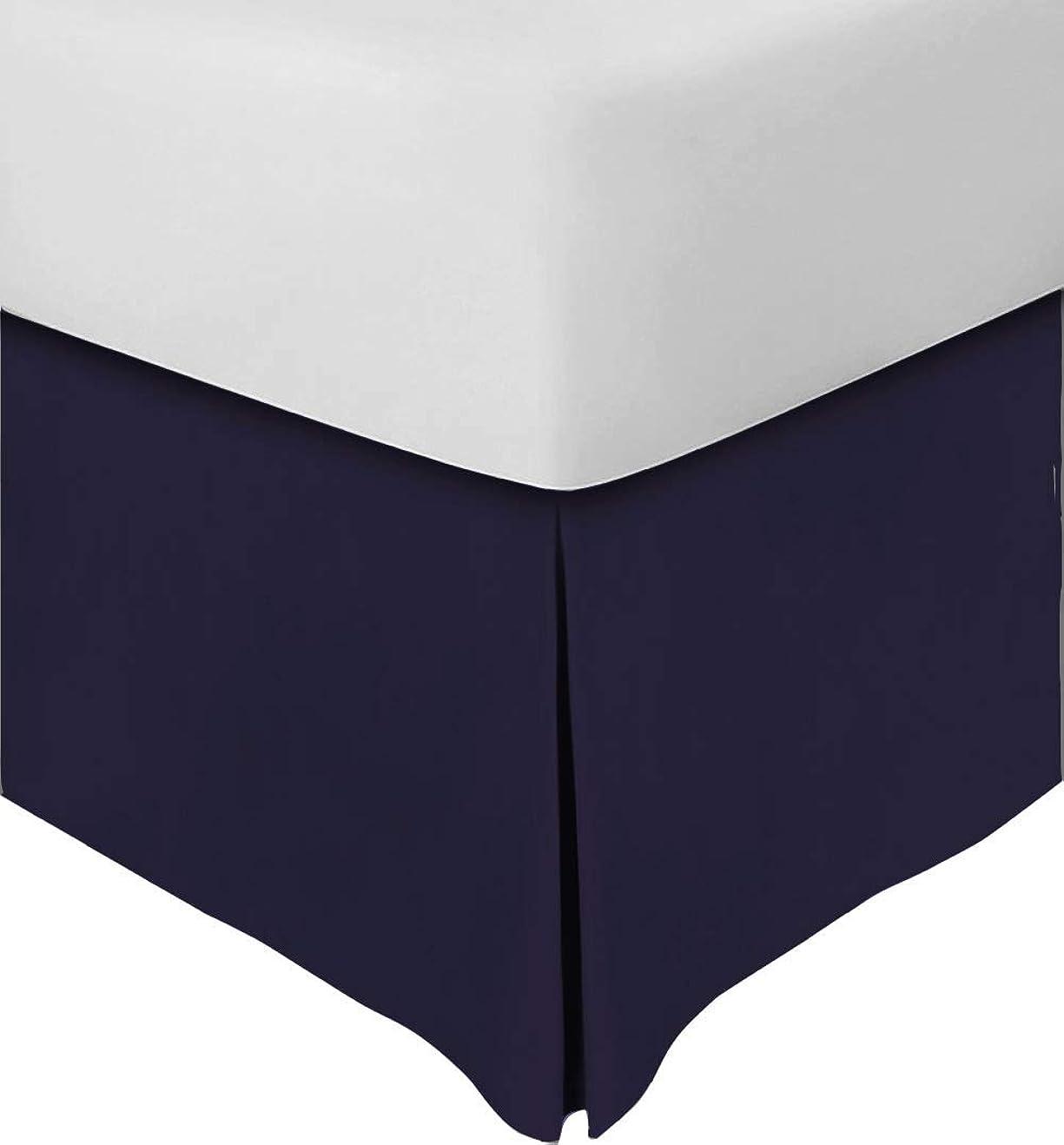 トレイ温室染料クイーンベッドスカート 18インチドロップスプリットコーナー100% エジプト綿 ラグジュアリー- 600スレッドカウント テーラード1 ピース ベッドスカート クイーン 60 x 80 サイズ ネイビーブルー 18 インチ ドロップ/フォール、簡単に洗えます しわ&色あせ防止