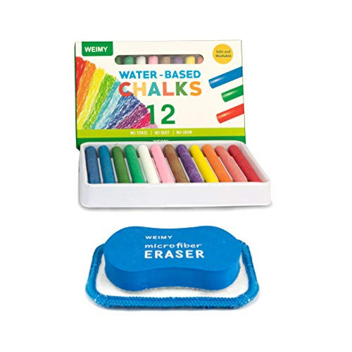 WEIMY Non-Toxic Colored Dustless Chalk (12 ct Box) Bundle -Includes Kids Chalkboard Eraser Washable & Reusable Microfiber Cloth