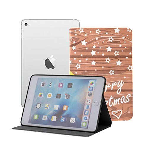 Funda para iPad Mini 123, Dibujada a Mano Navidad marrón Suave TPU Funda de Cuero Cove para iPad Mini 123 Fold Smart Stand Protective con Auto Wake/Sleep
