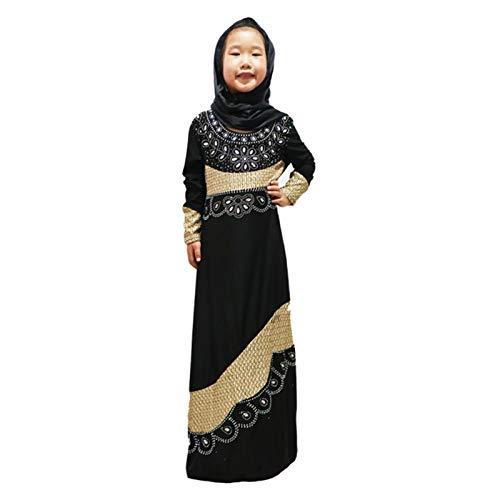 Sukienki muzułmańskie dla dziewcząt Kids Abaya Scarf Dress Robe Suknia Luźna Abayas Ramadan Elbise Islamic Gift Odzież (Color : Black, Size : 10 years)