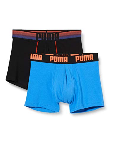 PUMA Herren Statement Bold Logo Boxer 2P Badehose, Blau (Blue/Orange 030), L (2er Pack)