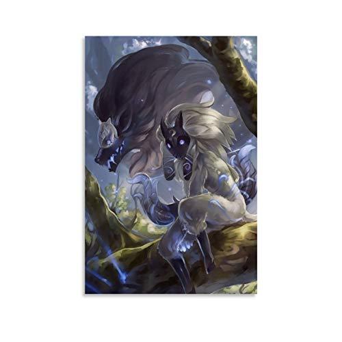 DRAGON VINES Riot Games League of Legends Eternal Hunters Kindred Poster Kunstdruck auf Leinwand, moderne Wanddekoration für Büro, gerahmt, 40 x 60 cm