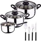 Bateria de cocina 5 piezas San Ignacio de acero inoxidable con cuberteria de 24 piezas en acero inoxidable en color negro