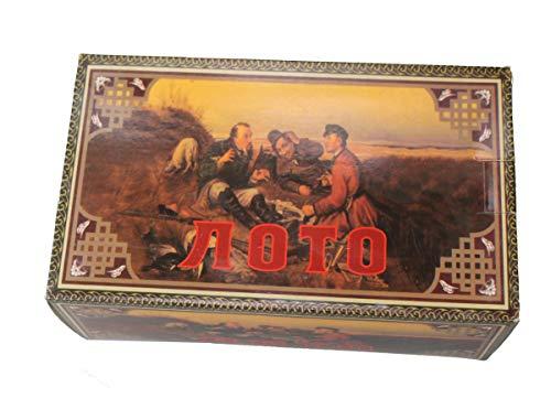 GMMH Lotto en Caja de Madera Oscuro Bingo Loto Ruso Juego