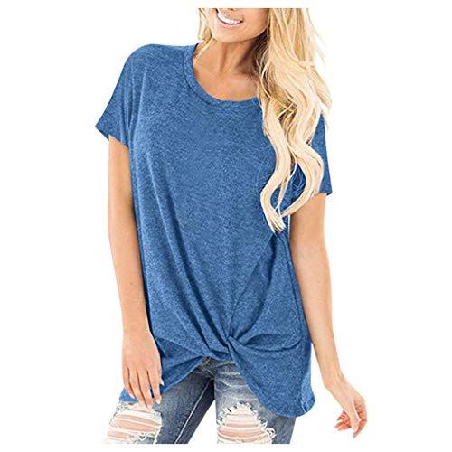Deelin dames modieus T-shirt tuniek top, asymmetrisch, korte mouwen, ronde hals, solide zomerkleur, casual blouse, top, lang