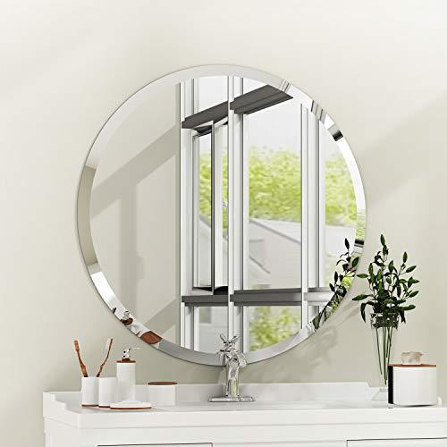 Espejo de Pared Rectangular sin Marco con Borde Biselado de Cristal Plateado para tocador de baño (Redondo(80 x 80 cm))