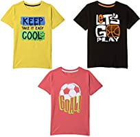 Real Basics Boys' Tshirt Pack of 3 Cotton, Regular Fit, Multicolour (Set1)