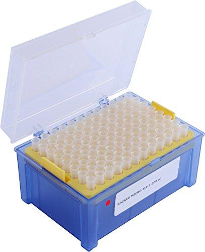 Moonlab, puntas de pipeta en una caja, graduada y esterilizada, PP, 2 μL-200 μL, en color amarillo, 4-0026