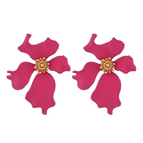 Wonque 1 par de pendientes de flor para mujer, Aleación, Rose Red, 3.5 * 4.5cm