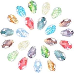 NBEADS 200 Unids Facetas Cristal AB-Color Plateado Lágrima Gotas de Cristal de Gota para la Fabricación de Joyas Granos de Artesanía DIY Venta al por Mayor Mezcle Lot