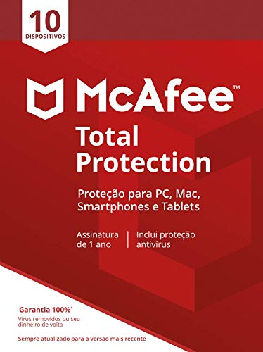 McAfee Total Protection 10 Antivírus – Programa premiado de proteção contra ameaças digitais, programas não desejados, multi dispositivos - 10 dispositivos - Cartão