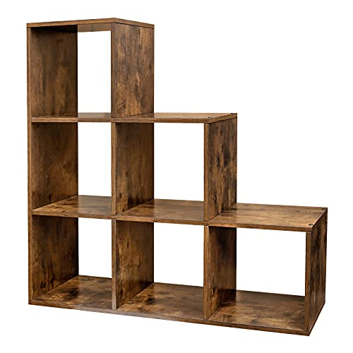 VASAGLE 6-Cube Storage Unit with Staircase Design, Wooden Display Rack, Free-Standing Shelf and Bookcase, for Study, Living Room, Bedroom, Rustic Brown LBC63BX