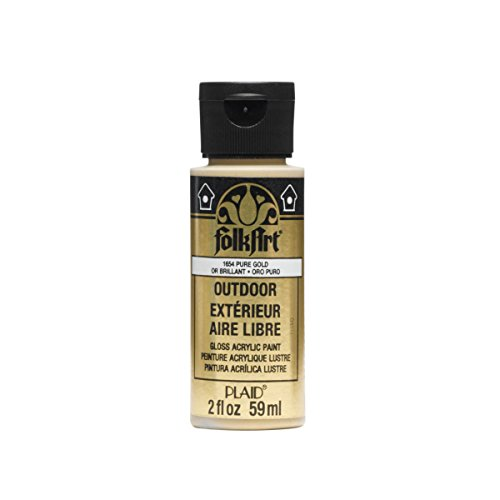 FolkArt Outdoor Acrylic Paint in Assorted Colors (2 Ounce), 1654 Metallic Pure Gold