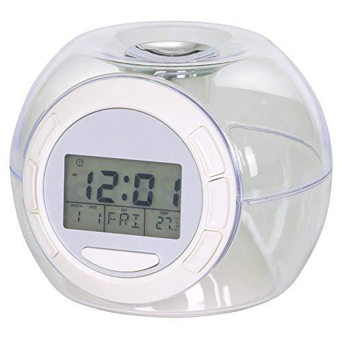 forepin Despertador Digital con Función Snooze LED Reloj Alarma con Luz de Colores Múltiples y Sonidos de la Naturaleza Despertador Reloj Temperatura Interior/Calendario para Niños Adultos