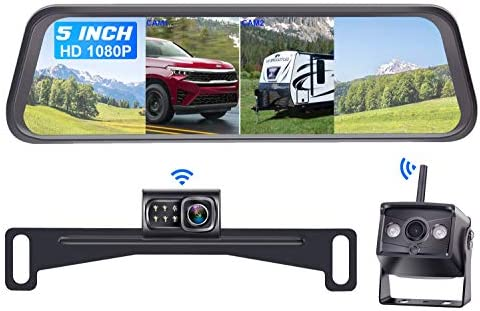 DoHonest S5 HD 1080P Digital Wireless Dual Backup Camera with 5 Monitor Kit Hitch Rear View product image