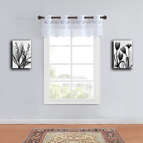 """WARM HOME DESIGNS Wide Size 54"""" x 18"""" White Color Knitted Lace Valance Scarf with 8 Grommets. Mix and Match with Patio Door and Regular Curtain Panels. LI White Valance"""