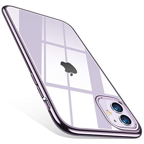 TORRAS Crystal Clear kompatibel mit iPhone 11 Hülle, Transparent [Anti-Gelb] Dünn iPhone 11 Hülle Schutzhülle Silikon Klar Slim Stoßfest Clear Durchsichtige Cover Handyhülle für iPhone 11 - Violett