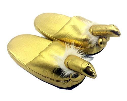 QFYD FDEYL Memory Foam Slippers,Penis Baumwollpantoffeln-Golden Penis_37,Winter Wärme Bequem Plüsch Pantoffeln