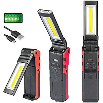 Lampada da lavoro LED Torcia ricaricabile USB LUXNOVAQ Luci di lavoro COB pieghevole Torcia ispezione portatili con base magnetica e gancio e Dimmerabile continuo per Auto Garage Meccanico Officina
