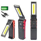 Luz de trabajo LED COB,Luz de trabajo USB recargable con base magnética y gancho para colgar,Luz de trabajo LED ajustable brillante estupenda COB Lámpara de inspección Antorcha manual,para lámpara