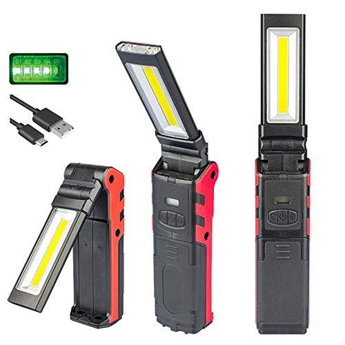 Luz de trabajo LED COB,Luz de trabajo USB recargable con base magnética...