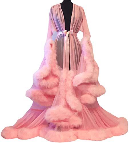HYISHION Bata de Plumas Sexy Túnica para Novia para Mujer, Boudoir Túnica de Plumas Tul Ilusión Larga Bufanda Lencería Sexy, Vestido Lace Transparente Robe Pijamas,Rosado,One Size
