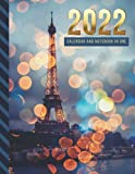 2022 Calendar and Notebook In One: Eiffel Tower on Rainy - Paris France / 8.5x11 Monthly Planner with Note Paper Combo / Large Organizer With Whole ... Ruled Lined Sheets / Life Organizing Gift