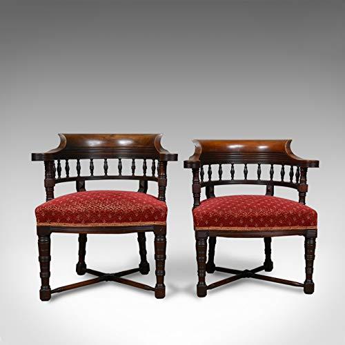 London Fine Antiques Circa 1900 - Juego de 2 sillas de salón (Estilo Victoriano, para él y para Ella)