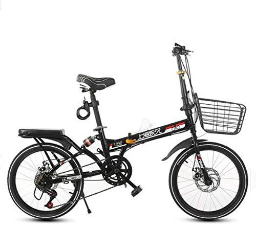 TX Bicicleta Plegable de 20 Pulgadas De Doble Choque Una Redonda Masculina Y Femenina Adultos, 3 Cuchillos De Rueda Entera