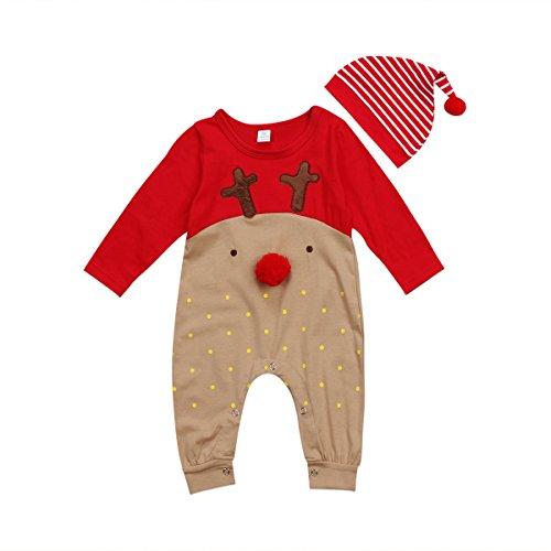 vpuquuz Neugeborenes Dickes Weihnachten Overall Gestrickten Pullover für Kleinkind Baby Junge Mädchen Hirsch Warme Winter Outfits Kleidung Strampler (O, 0-6M)