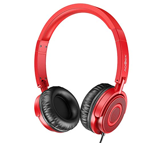 Vogek Headphones with Microphone, Portable Fold-Flat On Ear Headsets Wired with Stereo Bass, Sound Isolating and Adjustable Headband for Adults at Home Office Travel, Red