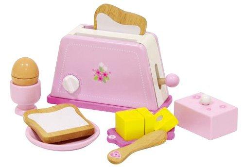 Siva Toys 225402 Siva Toaster Holz Pink mit Zubehör, Mehrfarbig