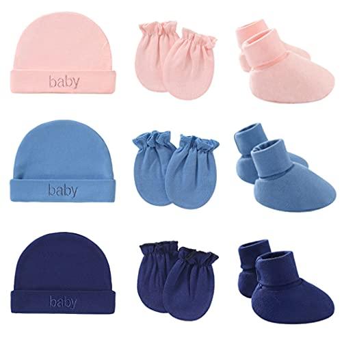 Lnrueg Neugeborenes Hut Set Baumwolle Weiche Keine Kratzer Baby Handschuhe Säuglingsschuhe Für Jungen Mädchen Fäustlinge Beanie Mütze Kinderzimmer